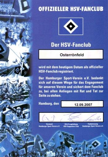 HSV Fanclub Osterrönfeld OFC Urkunde